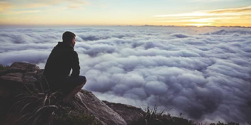 man alone and thinking